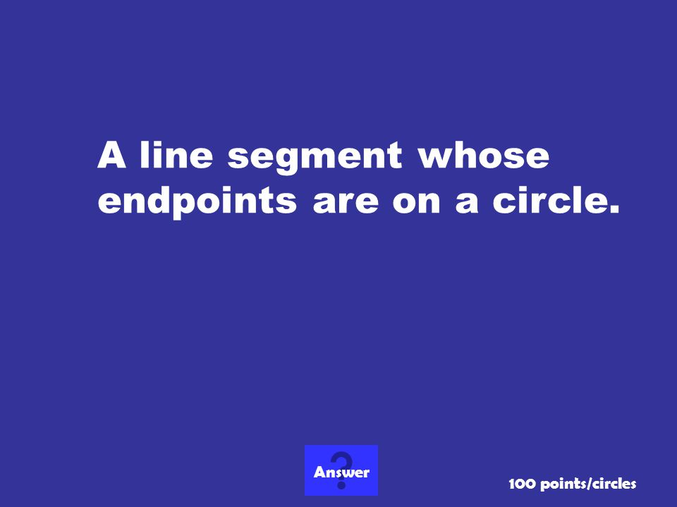 A line segment whose endpoints are on a circle.