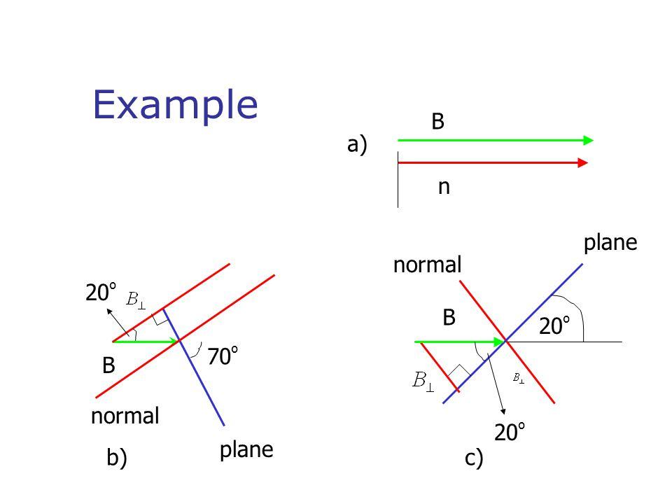 Example B a) n plane normal 20º B 20º 70º B normal 20º plane b) c)
