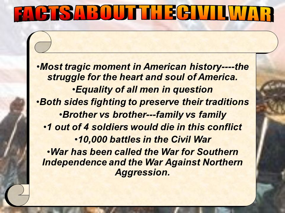 FACTS ABOUT THE CIVIL WAR