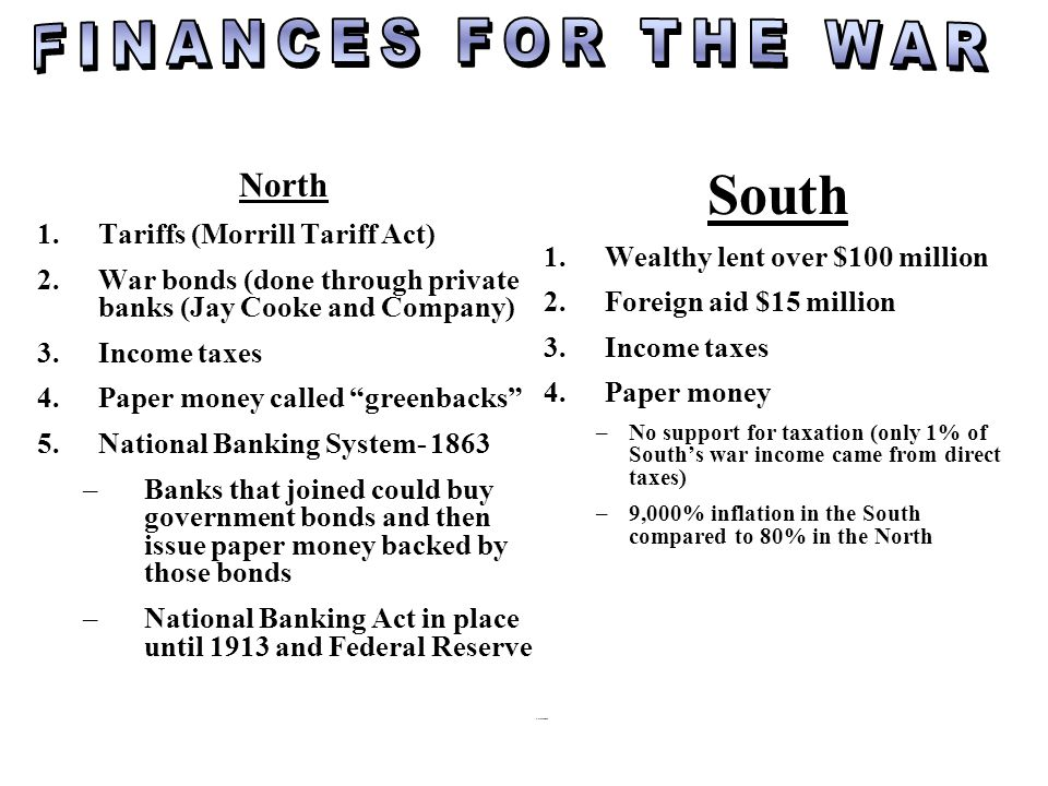 South FINANCES FOR THE WAR North Tariffs (Morrill Tariff Act)