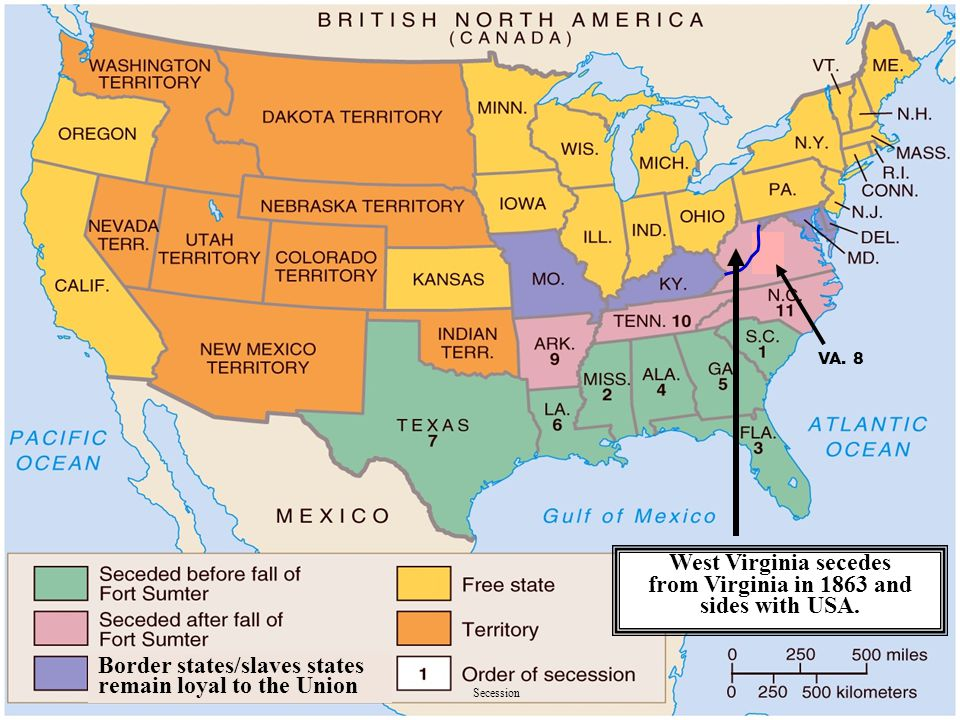 West Virginia secedes from Virginia in 1863 and sides with USA.
