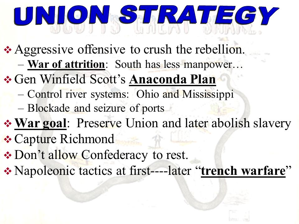 UNION STRATEGY Aggressive offensive to crush the rebellion.