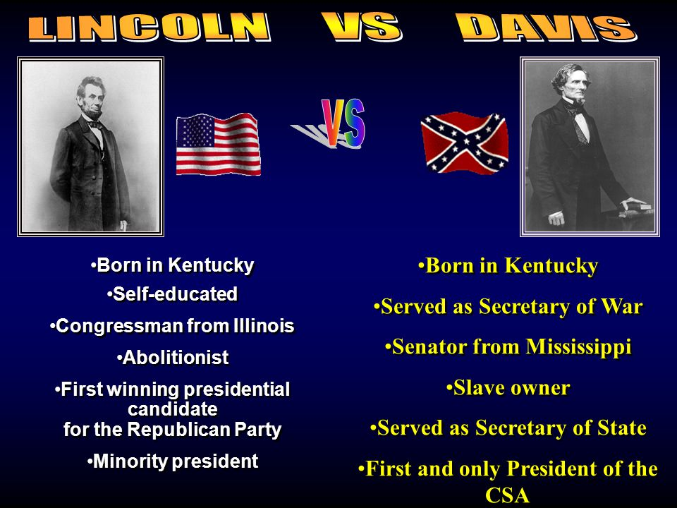 LINCOLN VS DAVIS vs Born in Kentucky Served as Secretary of War