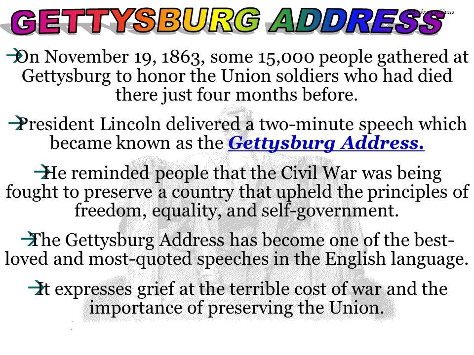 GETTYSBURG ADDRESS Gettysburg Address.