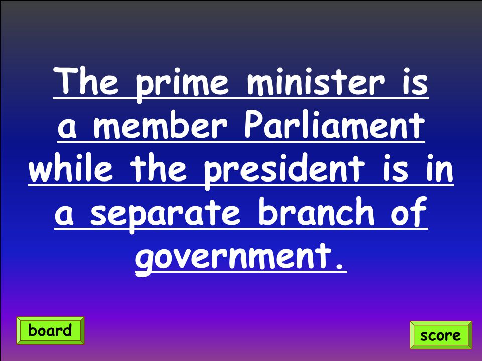 The prime minister is a member Parliament while the president is in a separate branch of government.