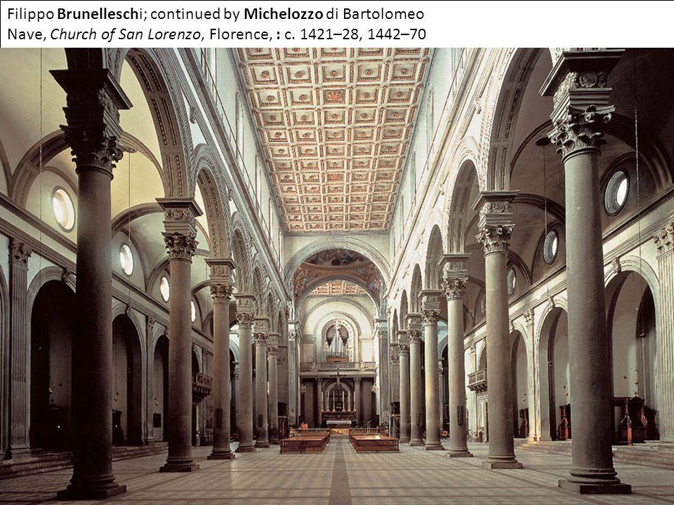 Filippo Brunelleschi; continued by Michelozzo di Bartolomeo