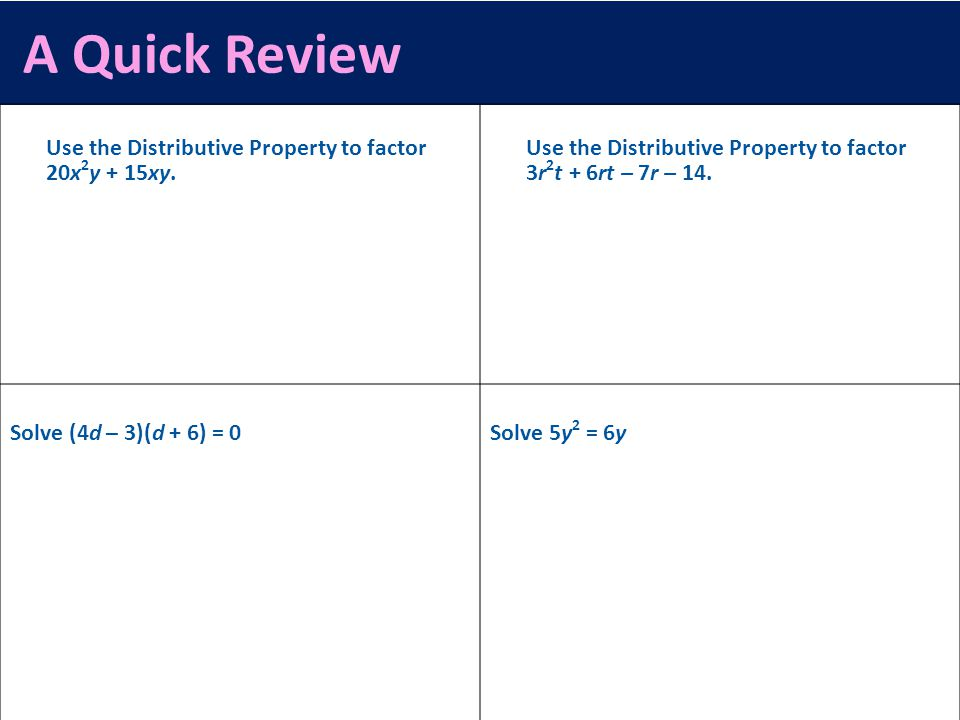 A Quick Review Use the Distributive Property to factor 20x2y + 15xy.