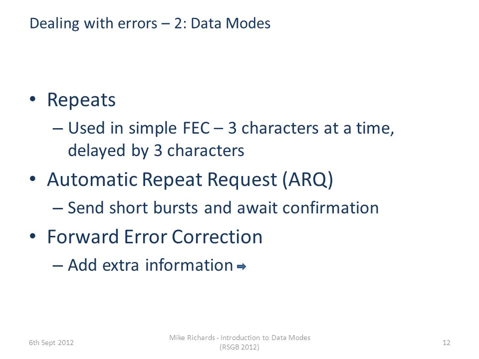 Dealing with errors – 2: Data Modes