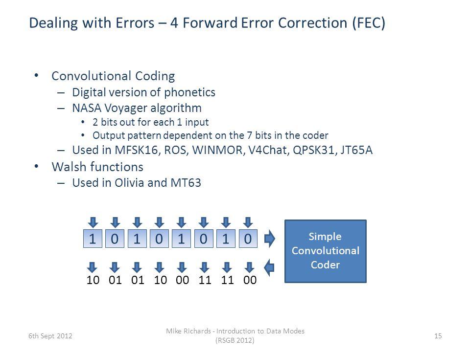 Dealing with Errors – 4 Forward Error Correction (FEC)