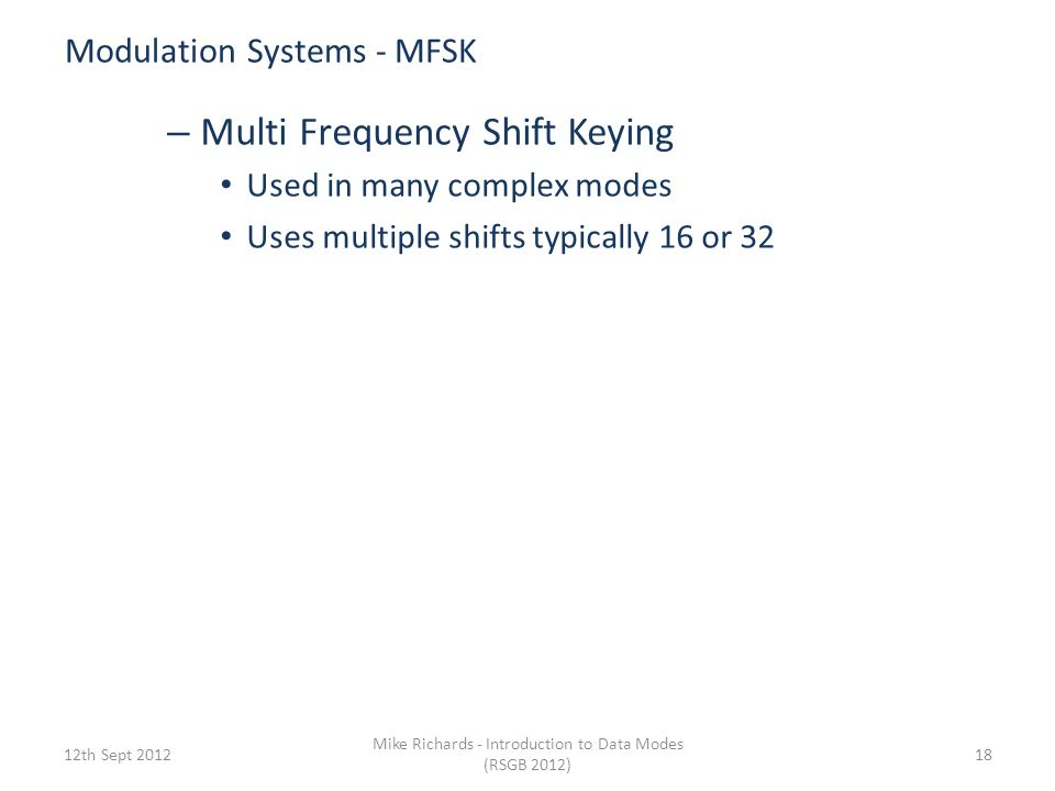 Modulation Systems - MFSK