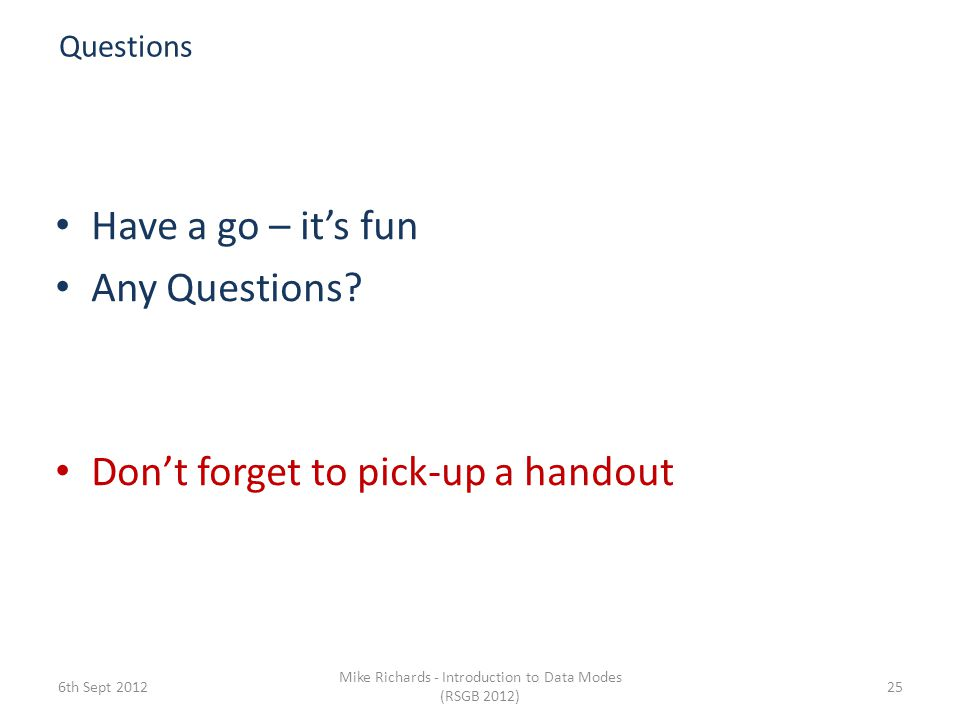 Mike Richards - Introduction to Data Modes (RSGB 2012)