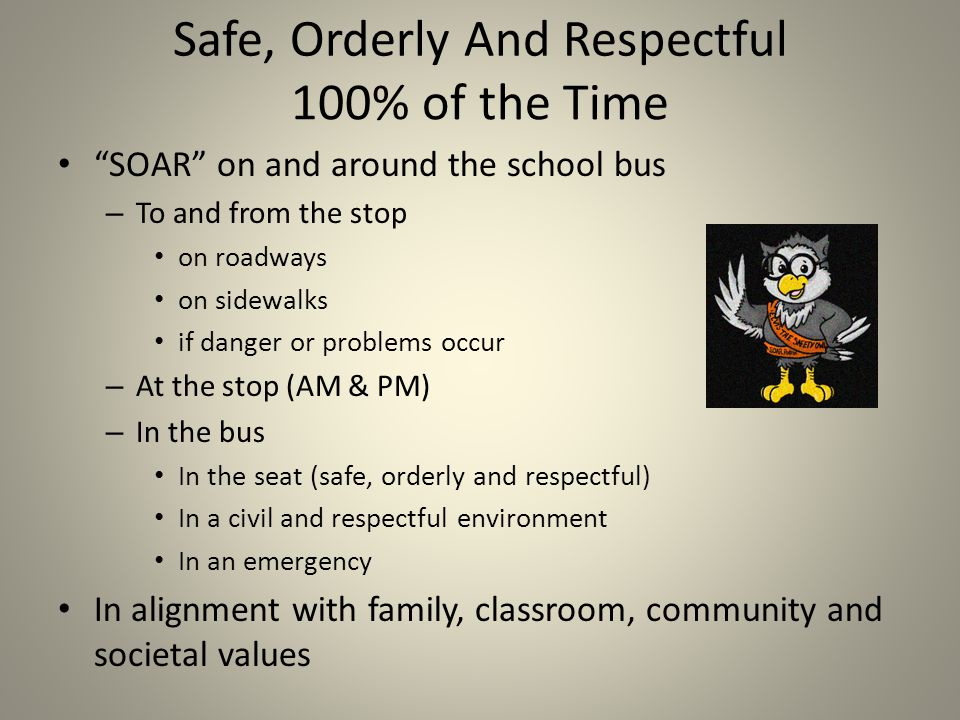 Safe, Orderly And Respectful