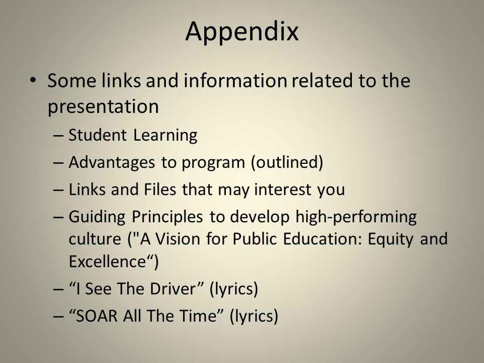 App endix Some links and information related to the presentation