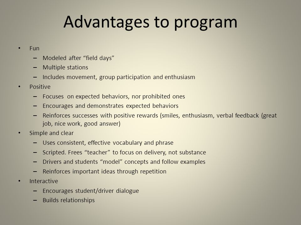 Advantages to program Fun Modeled after field days Multiple stations