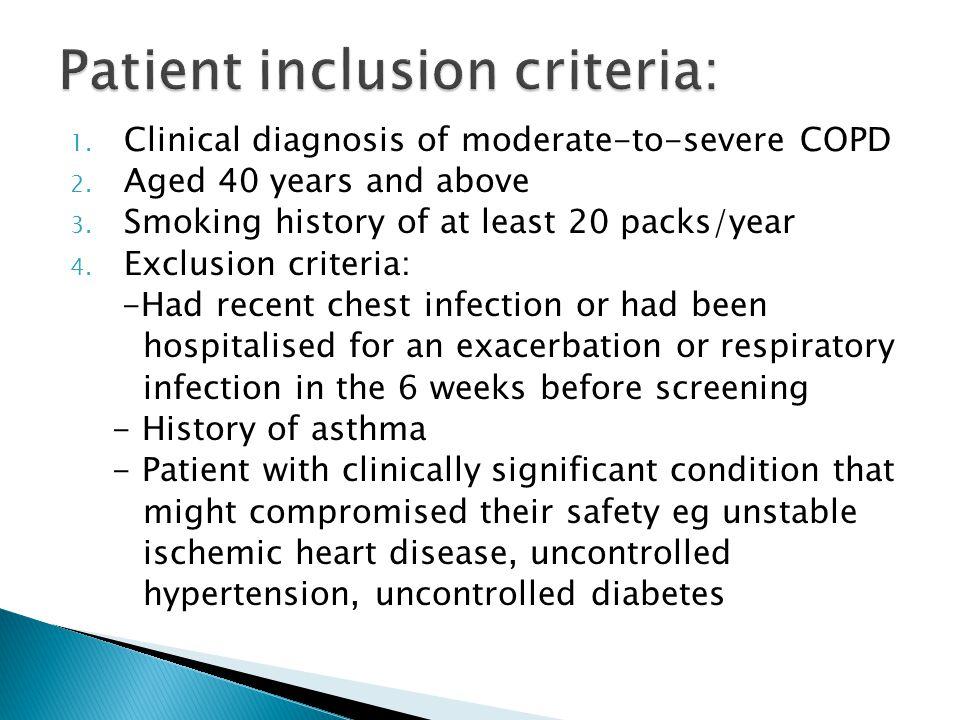Patient inclusion criteria: