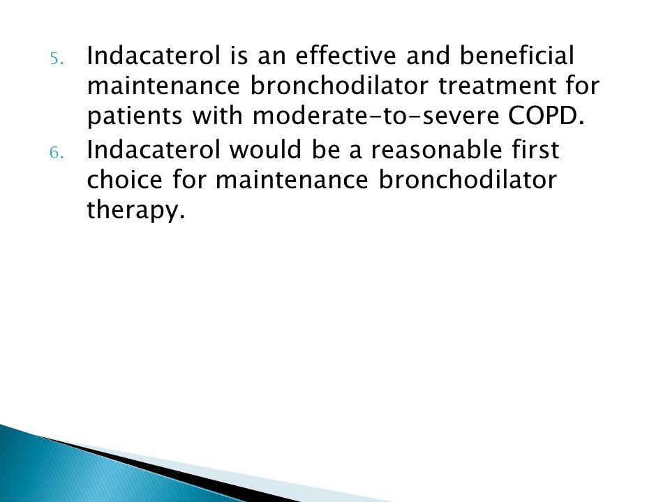 Indacaterol is an effective and beneficial maintenance bronchodilator treatment for patients with moderate-to-severe COPD.