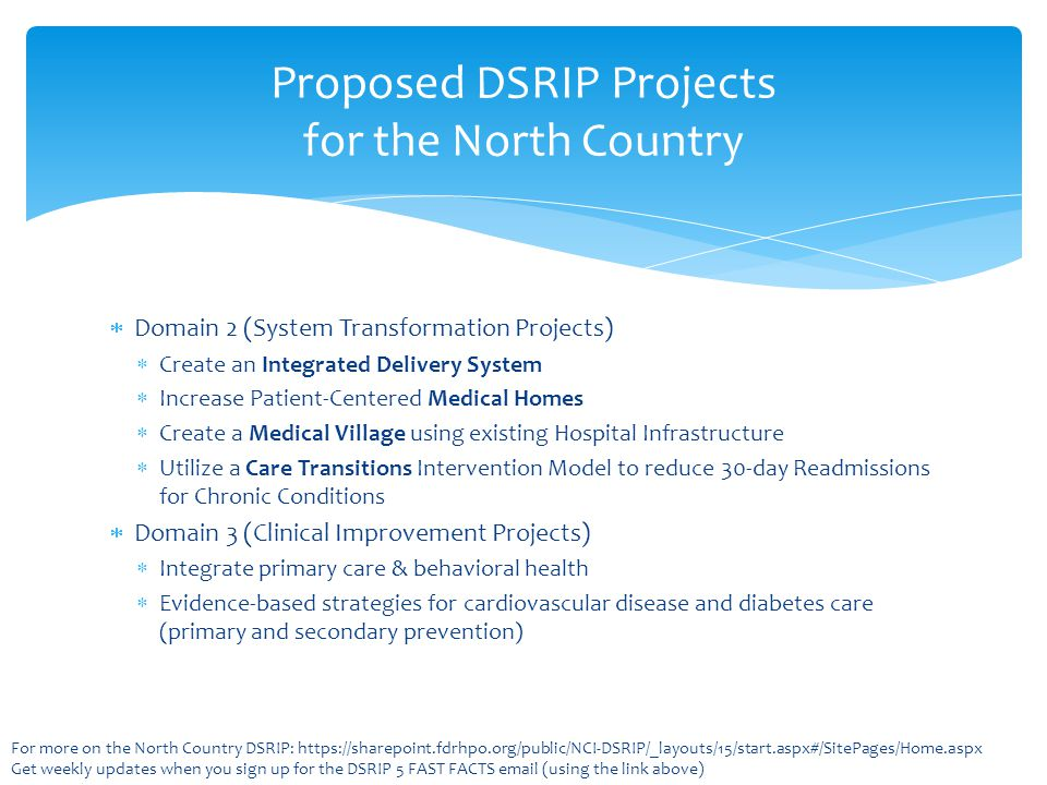 Proposed DSRIP Projects for the North Country