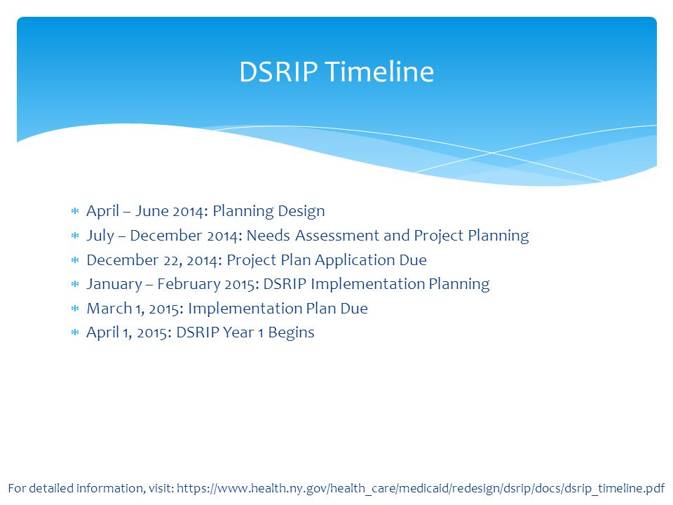 DSRIP Timeline April – June 2014: Planning Design