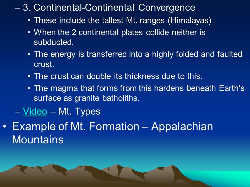 Example of Mt. Formation – Appalachian Mountains