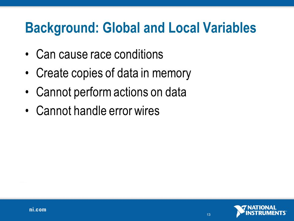 Background: Global and Local Variables