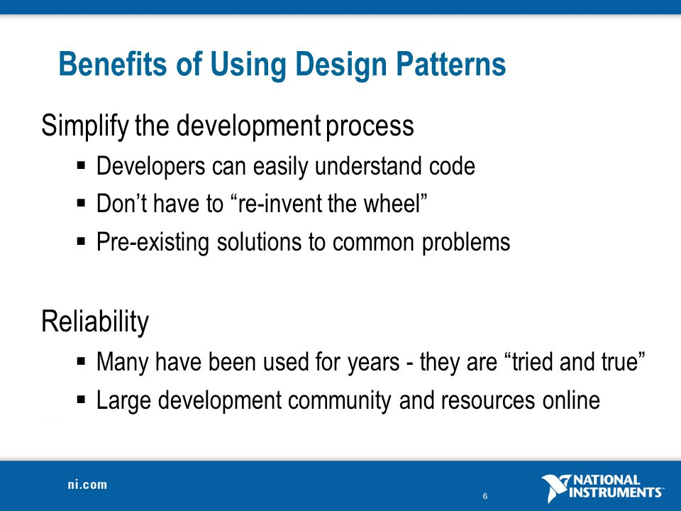 Benefits of Using Design Patterns