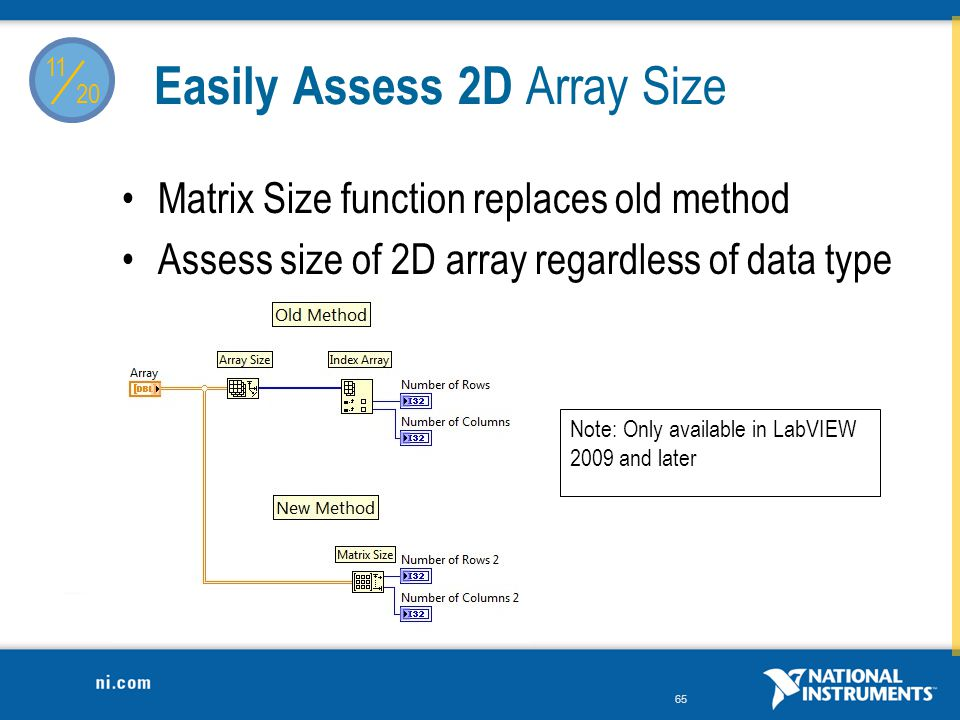 / Easily Assess 2D Array Size Matrix Size function replaces old method