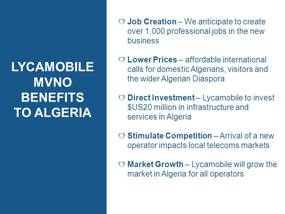LYCAMOBILE MVNO BENEFITS TO ALGERIA