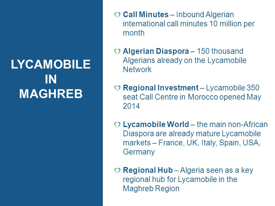 Call Minutes – Inbound Algerian international call minutes 10 million per month