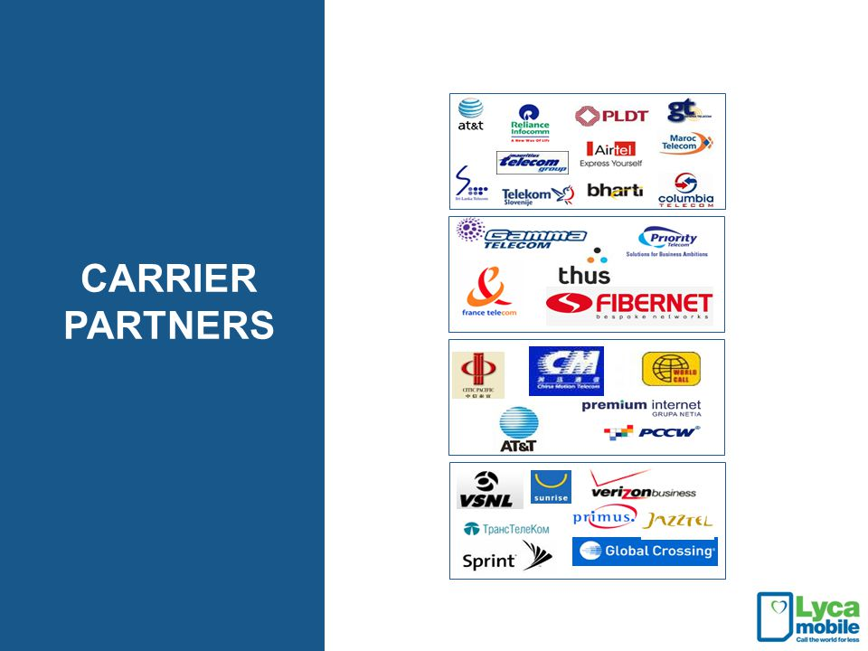 CARRIER PARTNERS Our partnerships are extremely important to us and are at the heart of our business.