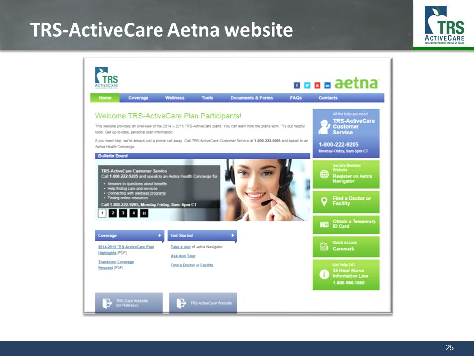 TRS-ActiveCare Aetna website