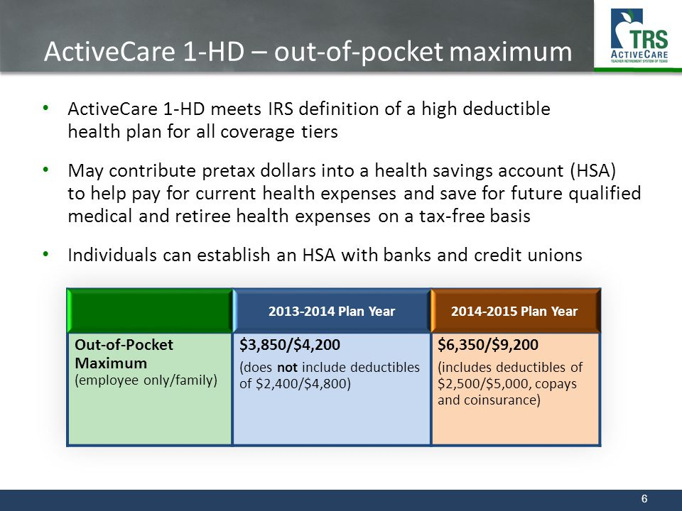 ActiveCare 1-HD – out-of-pocket maximum