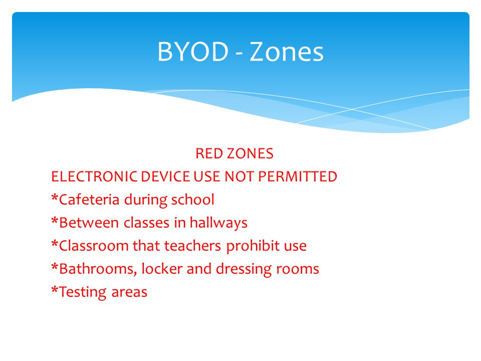 BYOD - Zones RED ZONES ELECTRONIC DEVICE USE NOT PERMITTED