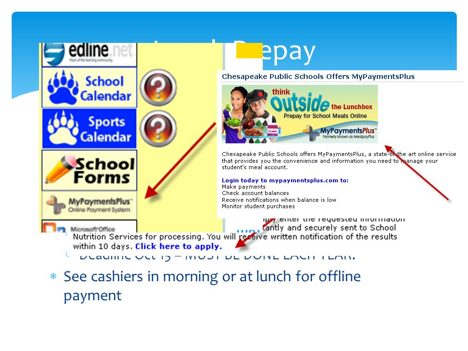 Lunch Prepay Parents encouraged to prepay for lunches online