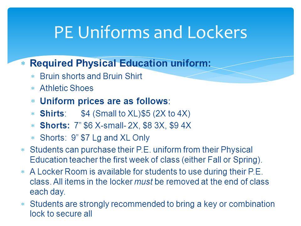 PE Uniforms and Lockers
