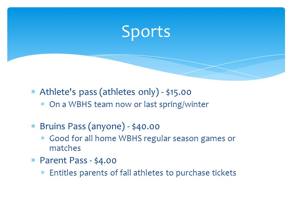 Sports Athlete s pass (athletes only) - $15.00