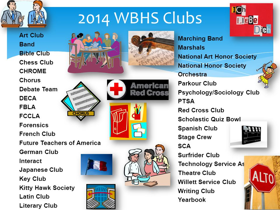 2014 WBHS Clubs Art Club Band Marching Band Bible Club Marshals