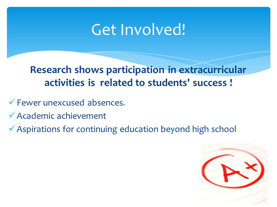 Get Involved! Research shows participation in extracurricular activities is related to students success !
