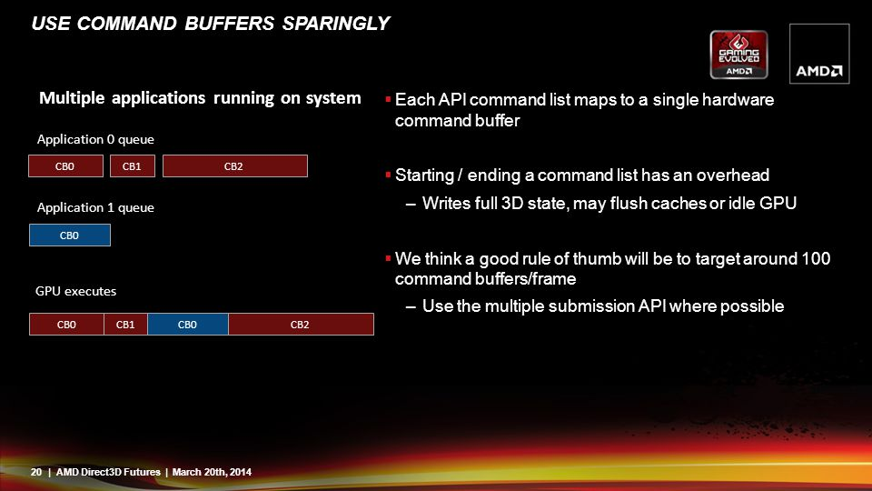 Use command buffers sparingly