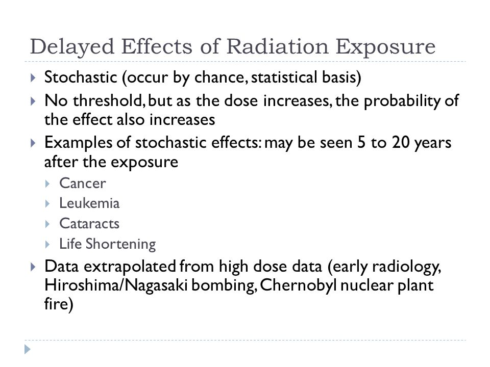 Delayed Effects of Radiation Exposure