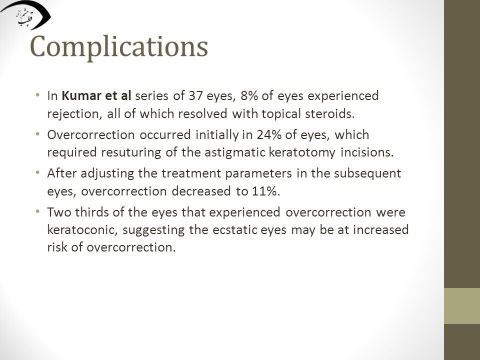 Complications In Kumar et al series of 37 eyes, 8% of eyes experienced rejection, all of which resolved with topical steroids.