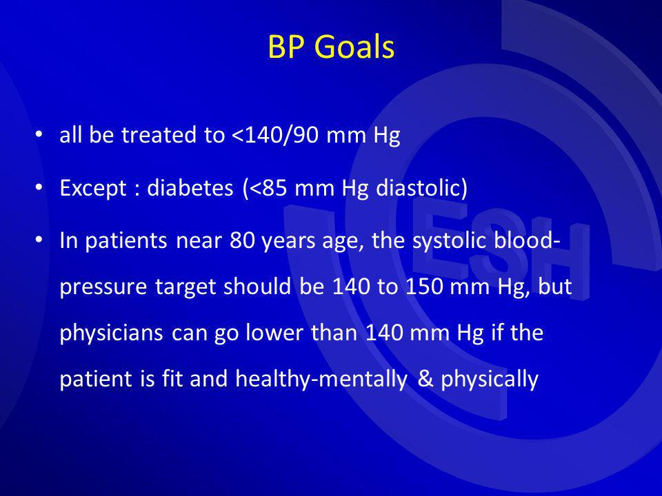 BP Goals all be treated to <140/90 mm Hg