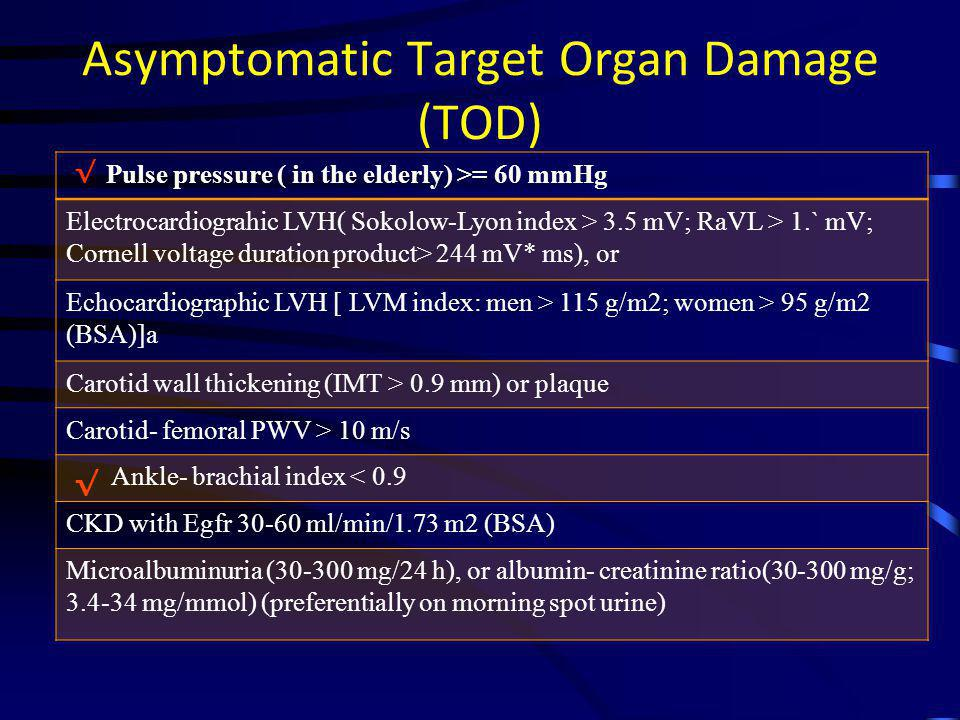 Asymptomatic Target Organ Damage (TOD)