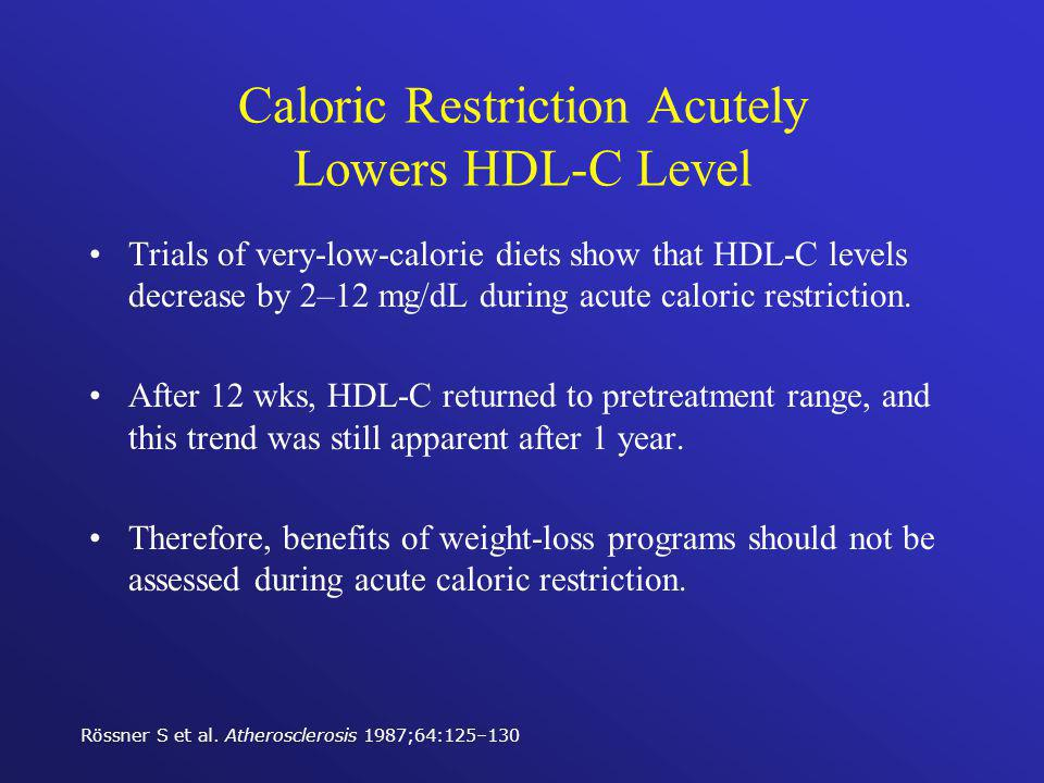 Caloric Restriction Acutely Lowers HDL-C Level