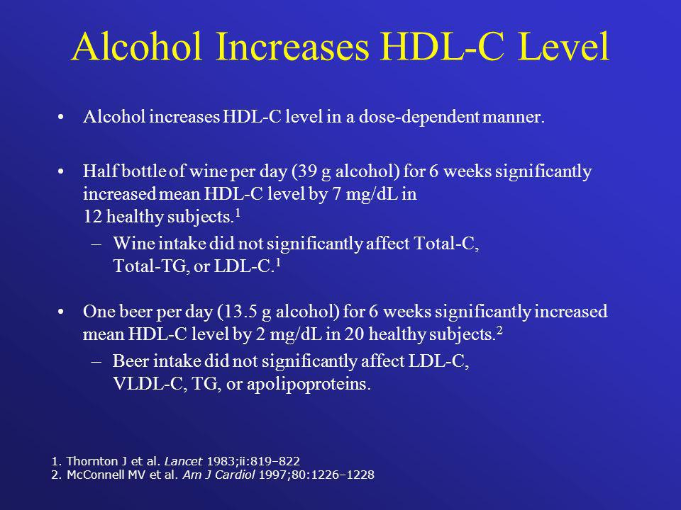 Alcohol Increases HDL-C Level