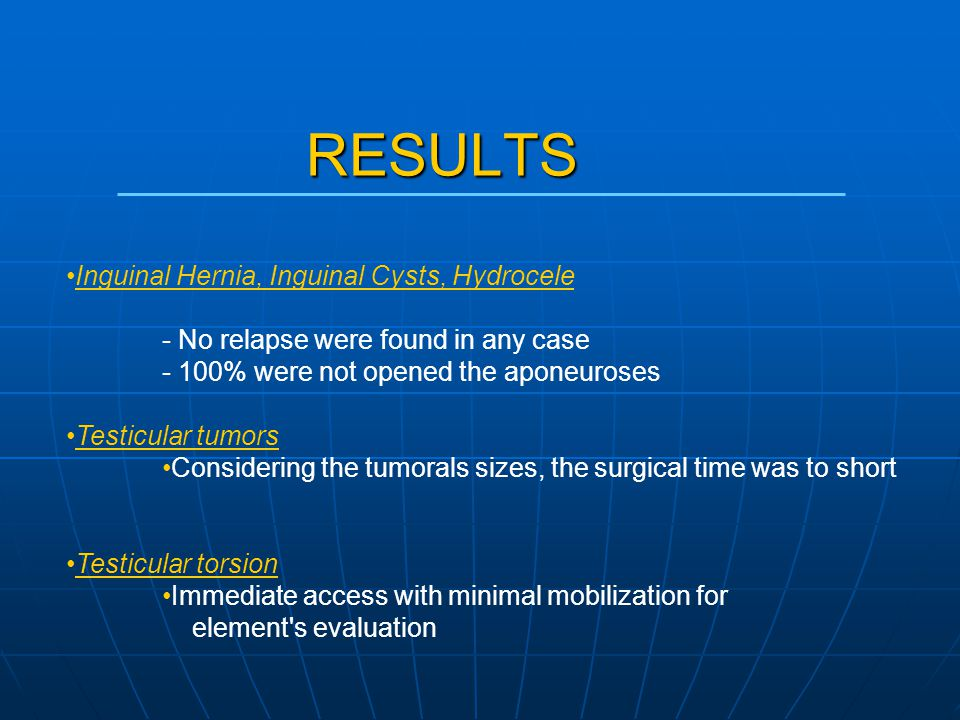 RESULTS Inguinal Hernia, Inguinal Cysts, Hydrocele