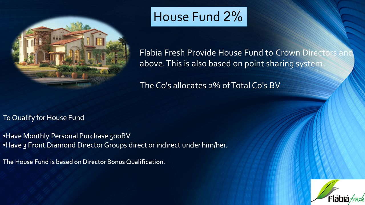 House Fund 2% Flabia Fresh Provide House Fund to Crown Directors and above. This is also based on point sharing system.