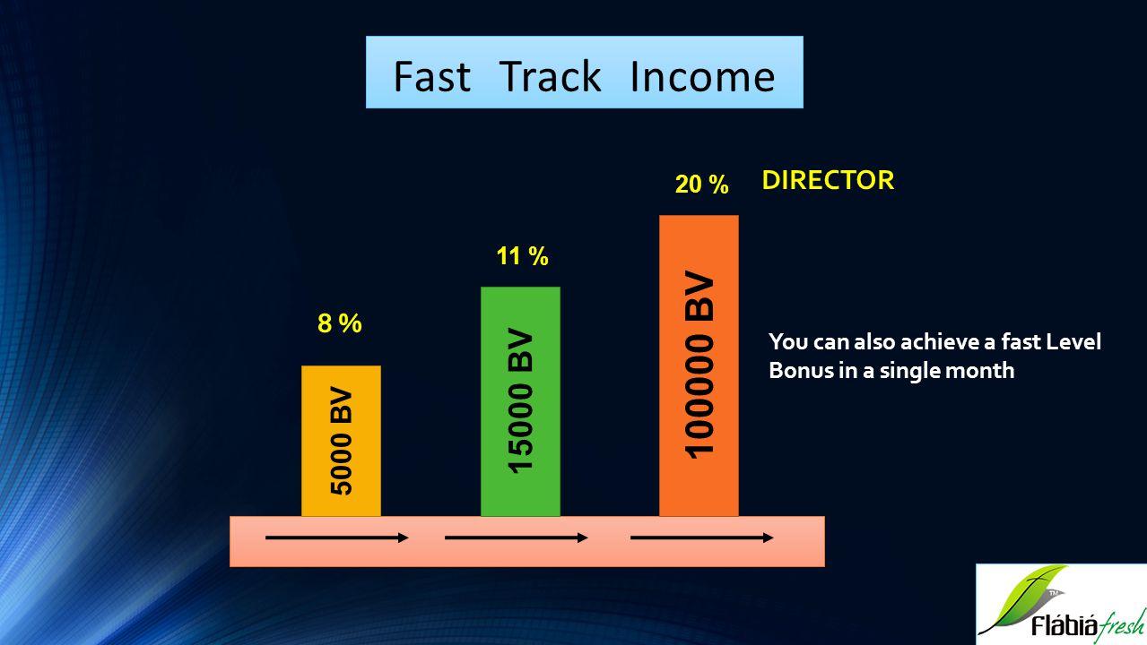 Fast Track Income 100000 BV 15000 BV DIRECTOR 8 % 5000 BV 20 % 11 %
