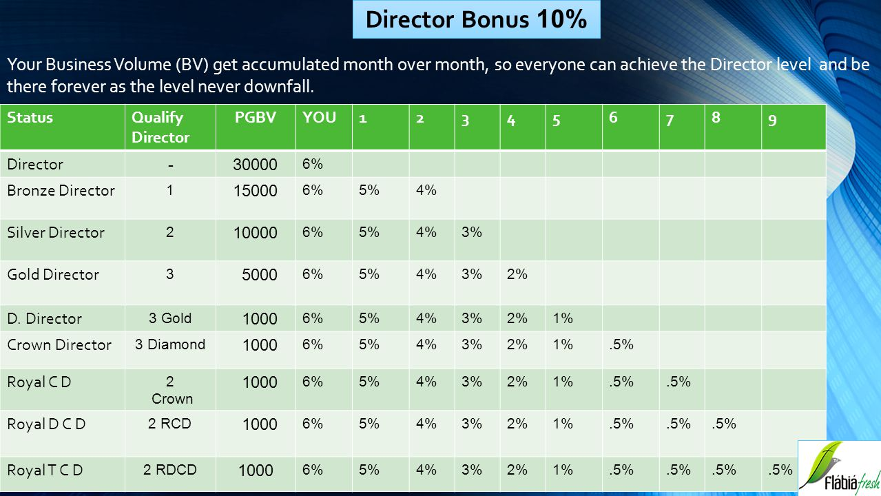 Director Bonus 10%