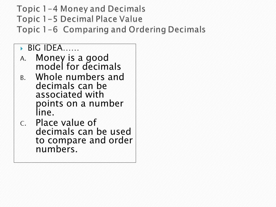 Money is a good model for decimals
