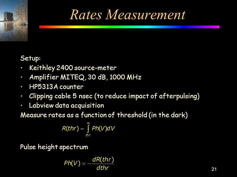 Rates Measurement Setup: Keithley 2400 source-meter